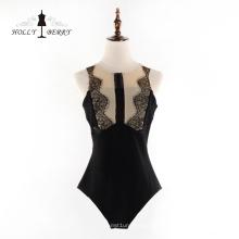 Medias de carne Ropa conjunta Nuevos y elegantes vestidos de encaje negro Vestidos sexy Mujer