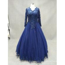 Manga larga cuello en V vestido de encaje azul vestido de noche