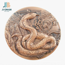 Top Sell Products 3D Snake Metal Bronze Coin for Souvenir