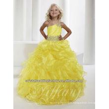 2013 une épaule perlée boucles d'oreilles jupe juffée robe jaune fille bouffée de fleurs CWFaf5228