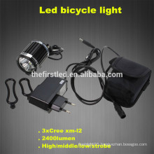 2400Lm Headlight 3X CREE XM-L T6 LED Head Front Bike bicycle light Headlamp Bicycle Lamp