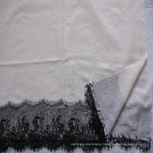 50% Silk 50% Wool Lace Trim Woven Shawl