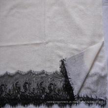 50% Seda 50% Lã Lace Trim Shawl tecido