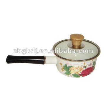 enamel saucepan with bakelite handle and glass lid