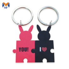 Metal chinese funny couple keychain set
