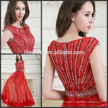 Red Cap Sleeve Floor Length Custom Made Designs Evening Party Wear Robe De Soiree ED222 2015 elegant evening dresses
