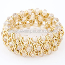 New arrival braided cord all match yellow crystal bracelet