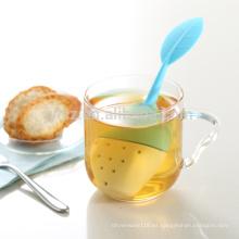 Nuevo infusor de cerámica del té del silicón de la forma de la hoja de la nueva forma de la venta