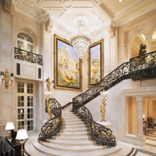 Big house curved glass railing marble helical staircases