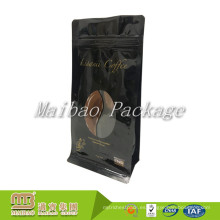 Laminado plástico negro bloque inferior cremallera superior Válvula unidireccional Empaquetado Bolsas de café por encargo con ven a través de la ventana
