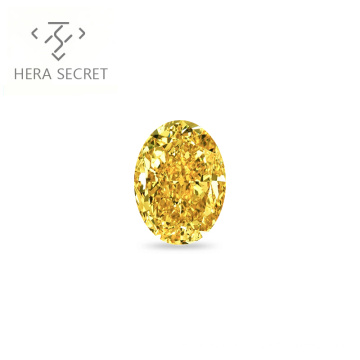 ForeverFlame  fancy yellow 1.5ct 6mm*8mm vvs Oval Cut diamond CVD CZ Moissanite haute couture ring
