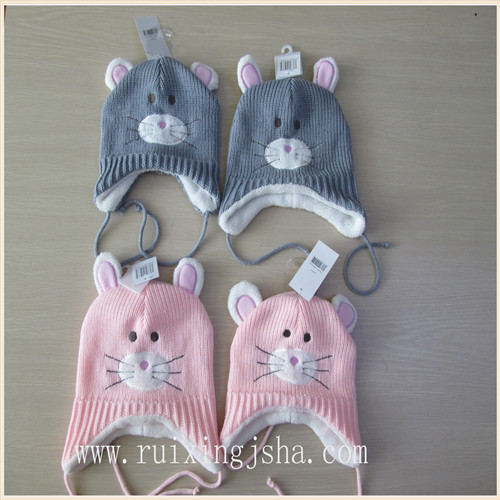 children knitted hat with lining fur imitation