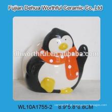Porta-guardanapos de pinguim decorativo de cerâmica para louça