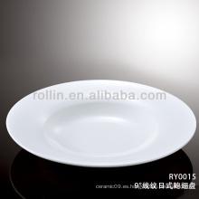 Sana especial duradera de porcelana blanca placa plana redonda plana