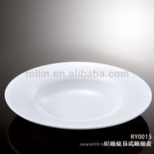 healthy special durable white porcelain flat round deep plate