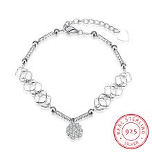 Venta caliente Europa 925 pulsera de acero esterlina Enlace colgante con cadena Joyería de plata de cristal hermoso