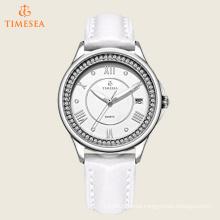 Women′s Analog Quartz Wrist Watch with White Leather Band 71171