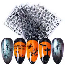 2021 popular Halloween Nail Art Stickers Skull Spider 3d floating Gold Nail Art stickers