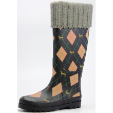 Diamond And Dog Printing Women Rubber Boots