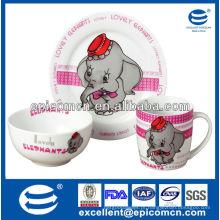 Crianças populares dinnerware de cerâmica dinnerset com decoração de elefante