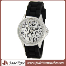 Leopard Pattern Dial Fashion Quartz Silicone Watch for Lady