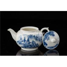 300cc azul paisagem cerâmica chá pote / bule