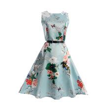 El último vestido causal de la muchacha impresa flor sin mangas del verano de One Piece
