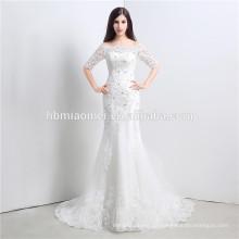 Rhinestone schnürte Korea-Entwurfshochzeitskleid für den abnehmbaren Rock des Brautfreischulterbodenlängen-Hochzeitskleides