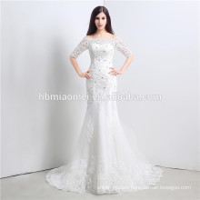 Rhinestone laced korea design wedding dress for bridal off-shoulder floor length wedding dress detachable skirt