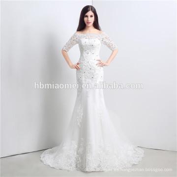 Rhinestone atado vestido de novia de diseño de Corea para nupcial fuera del hombro vestido de novia de longitud de la falda desmontable