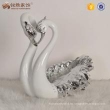 Decoración de la casa elegante diseño de resina cisne en forma de decoración de la boda
