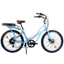 2015 fashionable design CE cheap blue color beach cruiser electric bike