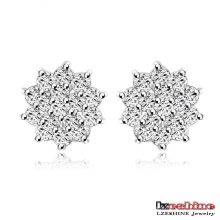 Silver Plated Cubic Zirconia Stud Earrings (CER0203-B)