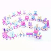 Educacional 26 alfabetos brinquedos de trem de madeira conjunto