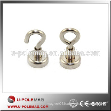 With M4 Hook Zinc Coated Neodymium Magnet D16mm