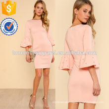 Pearl Embellished Flounce Sleeve Dress Manufacture Wholesale Fashion Women Apparel (TA3165D)