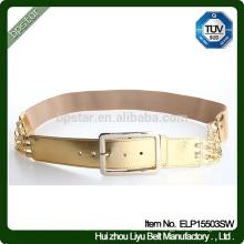 Fashion New Design Elegant Lady Wide Elastic Gold Waistband. Ceinture en métal à boucle en métal
