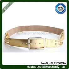 Fashion New Design Elegant Lady Wide Elastic Gold Waistband .Women Metal Buckle Belt
