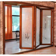 Madera de alerce natural Puerta de madera maciza de vidrio templado de madera maciza