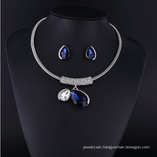 Big Sapphire Crystal and Big Pearl Zinc Alloy Necklace Set