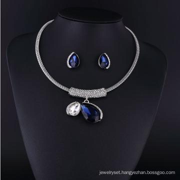 Big Sapphire Crystal and Big Pearl Zinc Alloy Necklace Set