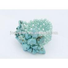 Turquesa chip pedra esticar sementes contas de vidro anel