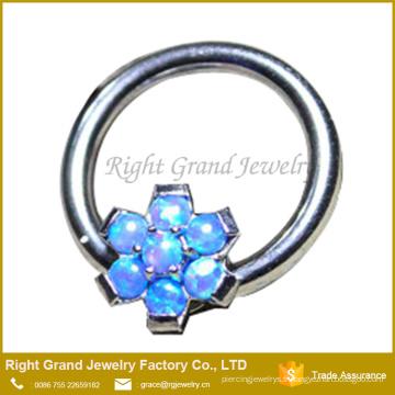 Blanc Bleu Synthétique Feu Fleur Opale Prong Set Oreille Daith Tragus Septum Anneau Nipple Ring