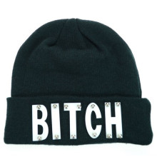 Winter Hat Fitted Beanie Hat Letter Embroidery Knitted Hat (XT-B028)