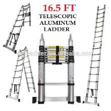 Euro Double Telescopic Aluminium-Leiter 5 Meter (17 Fuß) -Lagert auf 3 Fuß -A-Rahmen 9 Fuß -Ultra Portable