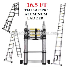 Euro Double Telescopic Aluminium ladder 5 meter (17 feet) -Stores at 3 feet -A Frame 9 feet -Ultra Portable - Rapid unlock hinge