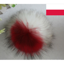 2015 New Product Decorate National Flag Poland White and Red Real Raccoon Fur Ball