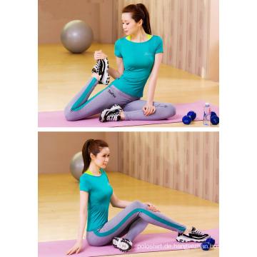 Chic 85% Nylon 15% Spandex gespleißt Knöchel Länge Yoga Leggings mit benutzerdefinierten Logo