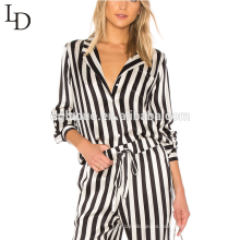 Wholesale nightwear shirts adult full body women pyjama set silk pajamas