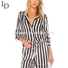 Atacado camisas pijamas adulto mulheres de corpo inteiro pijama set pijamas de seda